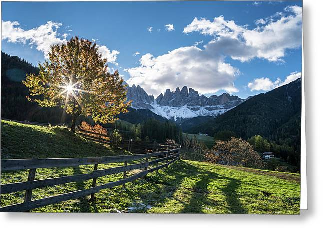 Villnoess Valley In The Dolomites Greeting Card