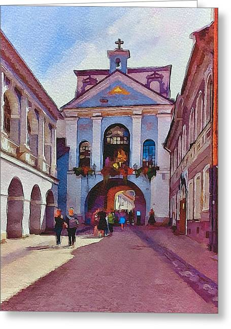 Vilnius Old Town Golden Gate 1 Greeting Card by Yury Malkov