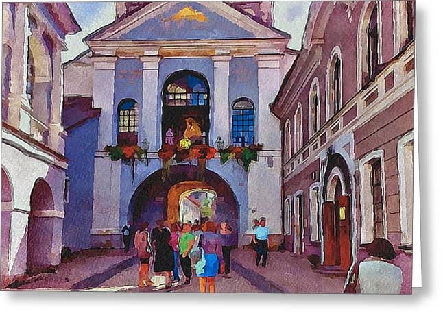 Vilnius Old Town Golden Gate 2 Greeting Card by Yury Malkov