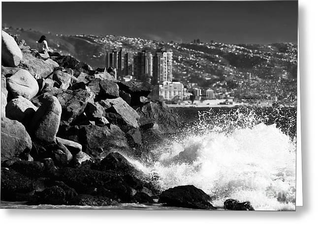 Vina Del Mar Waves Greeting Card by John Rizzuto
