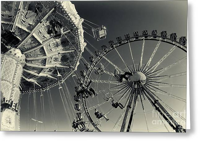 Vintage Carousel And Ferris Wheel Bw At The Octoberfest In Munich Greeting Card by Sabine Jacobs