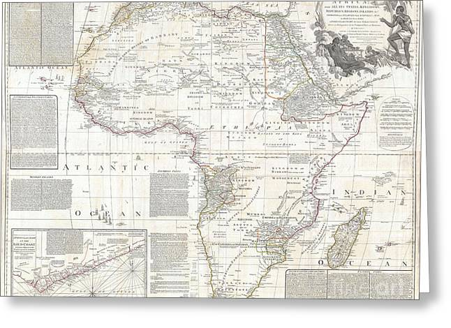 Vinatge Old World Map Of Africa Greeting Card by Inspired Nature Photography Fine Art Photography