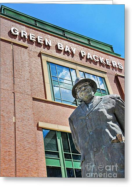 Greeting Card featuring the photograph Vince Lombardi Statue Lambeau Field by David Perry Lawrence
