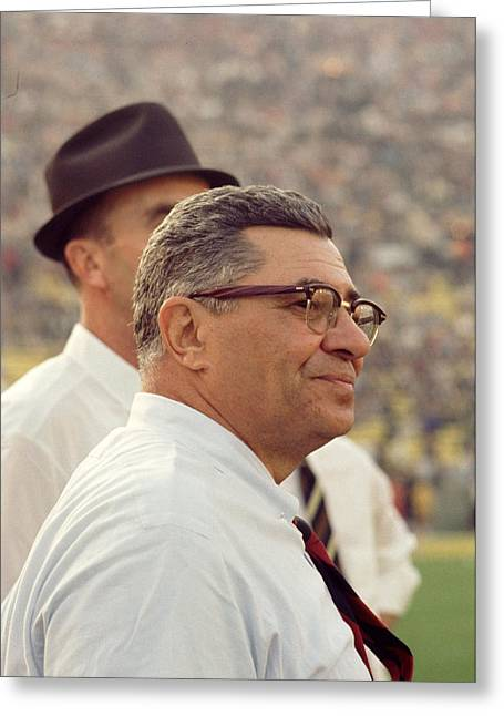Vince Lombardi Surveying The Field Greeting Card