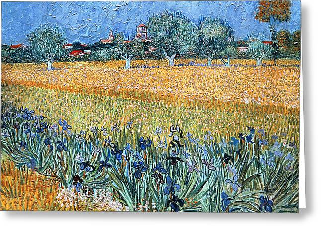 Field With Flowers Near Arles Greeting Card by Vincent van Gogh