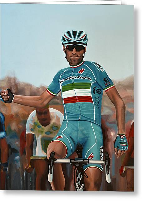Vincenzo Nibali Painting Greeting Card by Paul Meijering