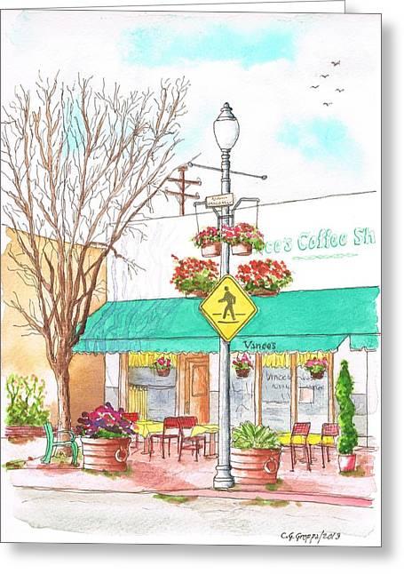 Vinces Coffee Shop In Santa Paula, California Greeting Card