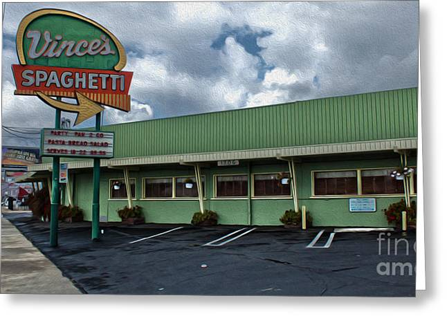 Vinces Speghetti Greeting Card by Gregory Dyer