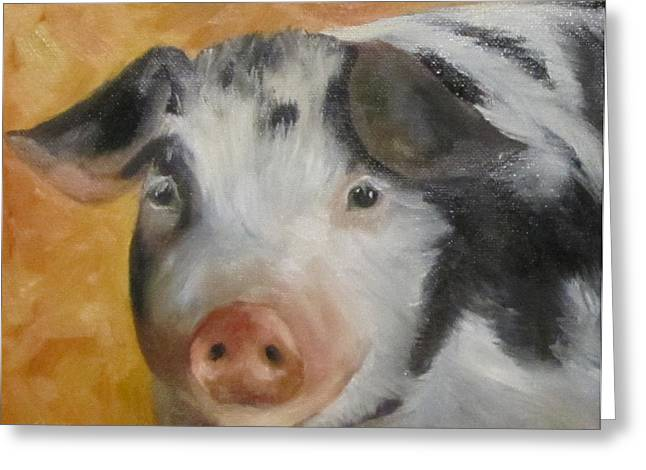Vindicator Pig Painting Greeting Card by Cheri Wollenberg