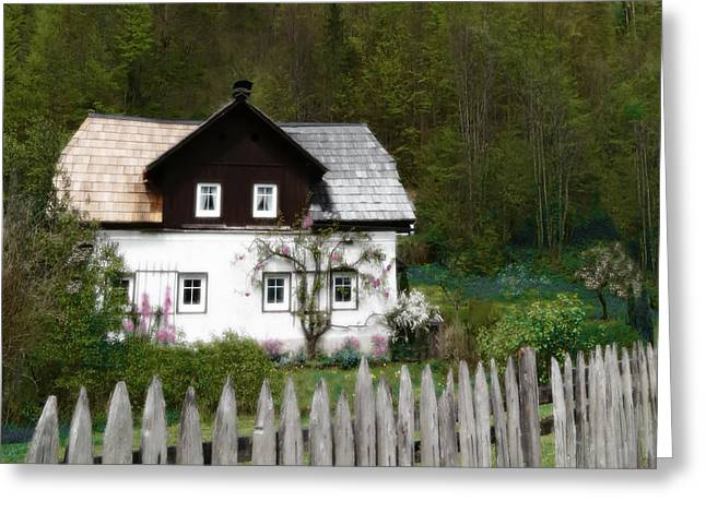 Vine Covered Cottage With Rustic Wooden Picket Fence Greeting Card