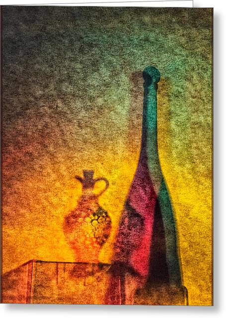 Vinegar And Oil Greeting Card by Georgianne Giese