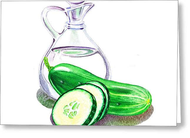 Vinegar Bottle And Cucumbers Greeting Card
