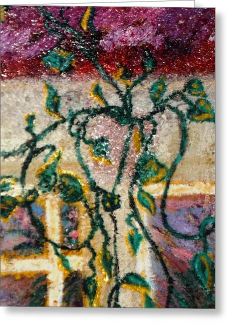 Greeting Card featuring the painting Vines In Venice Beach by Leslie Byrne