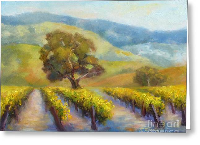Vineyard Gold Greeting Card by Carolyn Jarvis