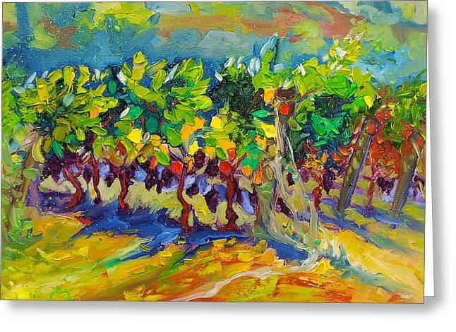 Vineyard Harvest Oil Painting Greeting Card