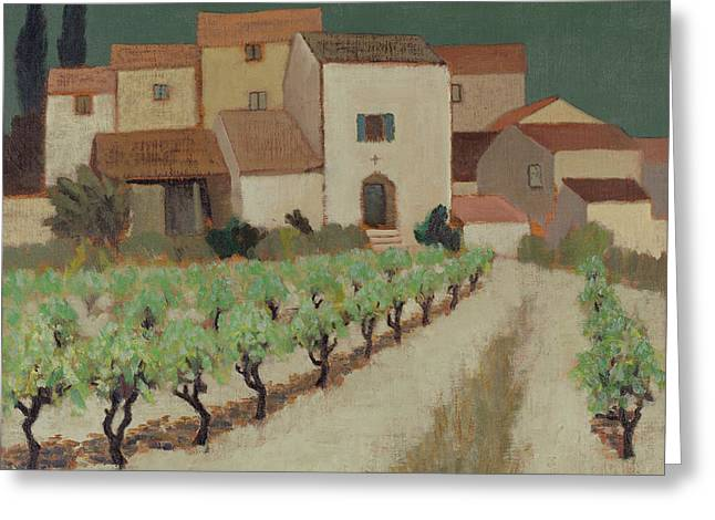Vineyard, Provence Oil On Canvas Greeting Card by Eric Hains