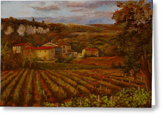 Vineyard Greeting Card by Rick Fitzsimons