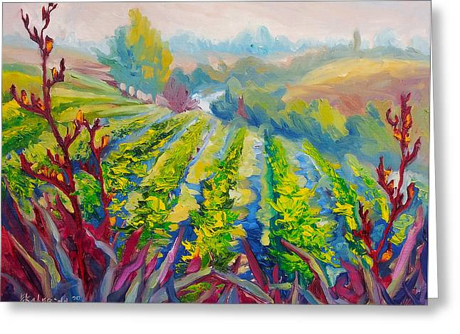 Vineyard Scene Oil Painting Greeting Card