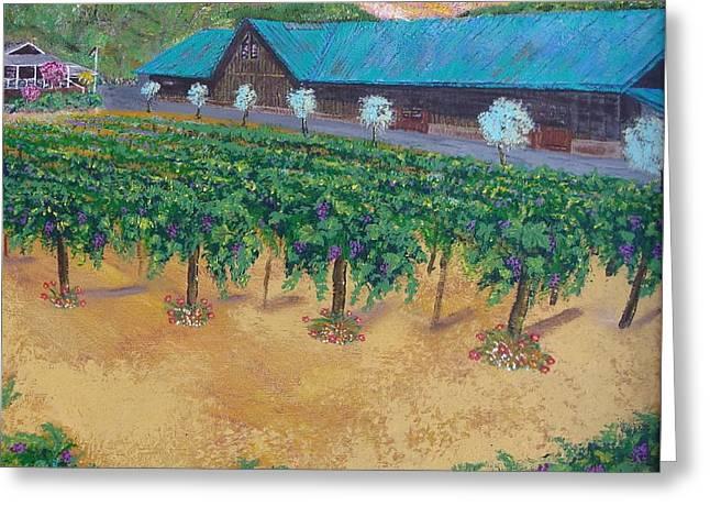Vineyard Sunset Greeting Card by Scott Phillips