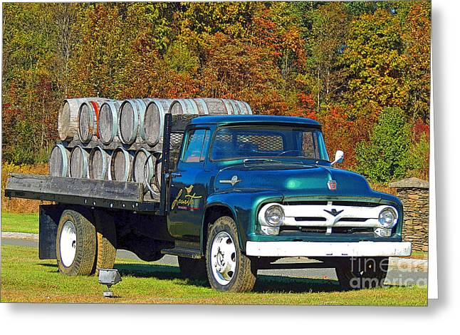 Vineyard Truck Greeting Card by Marian DeSalvo-Rodgers