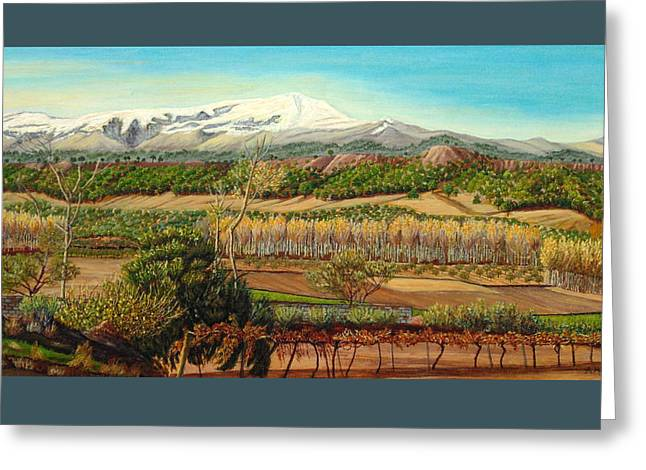 Vineyard Valley In The Sierra Nevada Surroundings Greeting Card by Angeles M Pomata