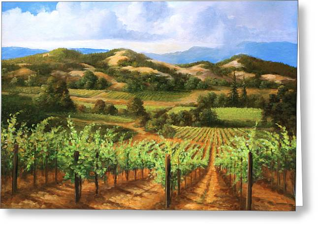 Vineyards In The Valley Greeting Card by Gail Salitui