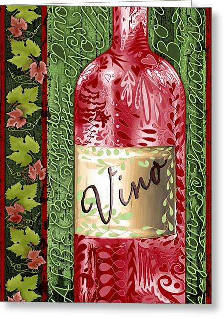 Vino Reds Greeting Card by Sharon Marcella Marston