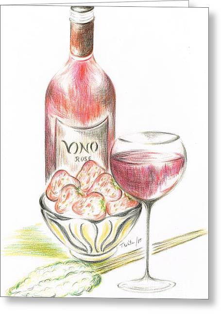Vino With Strawberries Greeting Card by Teresa White