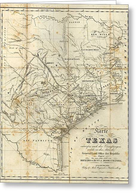 Vintage 1841 Texas Map Greeting Card by Dan Sproul