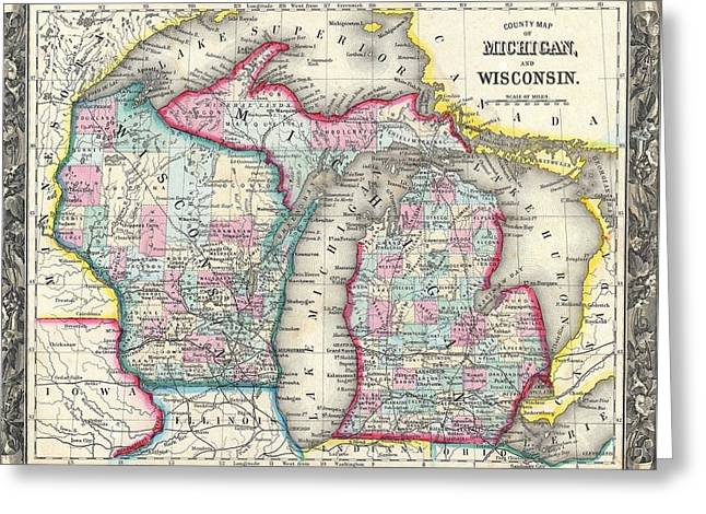 Vintage 1860 Michigan Map Greeting Card by Dan Sproul