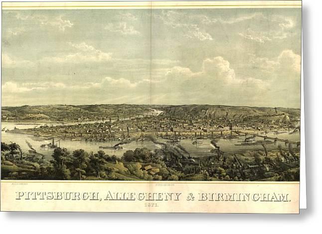 Vintage 1874 Pittsburgh Aerial Map Greeting Card