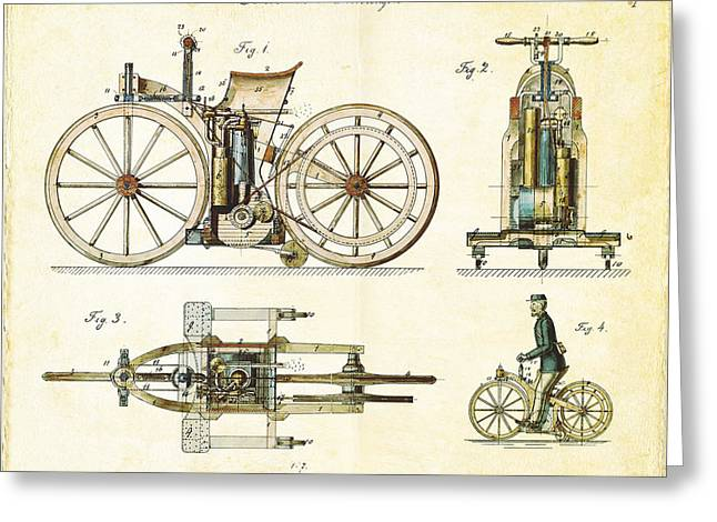Vintage 1885 Daimler Reitwagen First Motorcycle Greeting Card by Nikki Marie Smith