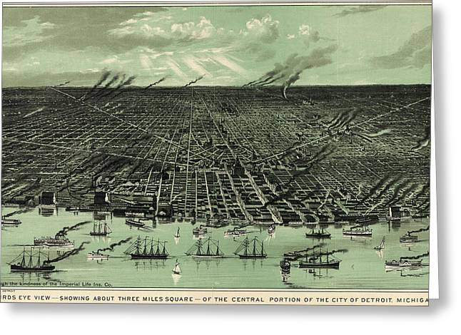 Vintage 1889 Detroit Michigan Map Greeting Card by Dan Sproul
