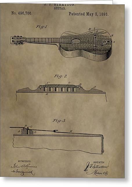 Vintage 1893 Guitar Patent Greeting Card