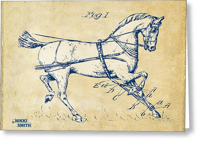 Vintage 1900 Horse Hobble Patent Artwork Greeting Card