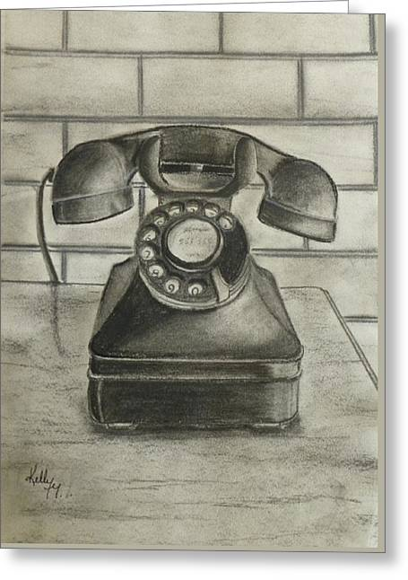 Greeting Card featuring the drawing Vintage 1940's Telephone by Kelly Mills