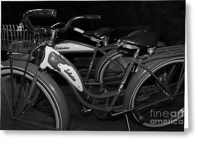 Vintage 1941 Boys And 1946 Girls Bicycle 5d25760 Black And White Greeting Card by Wingsdomain Art and Photography