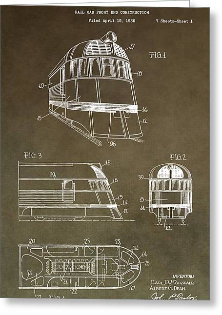Vintage 1941 Train Patent Greeting Card by Dan Sproul
