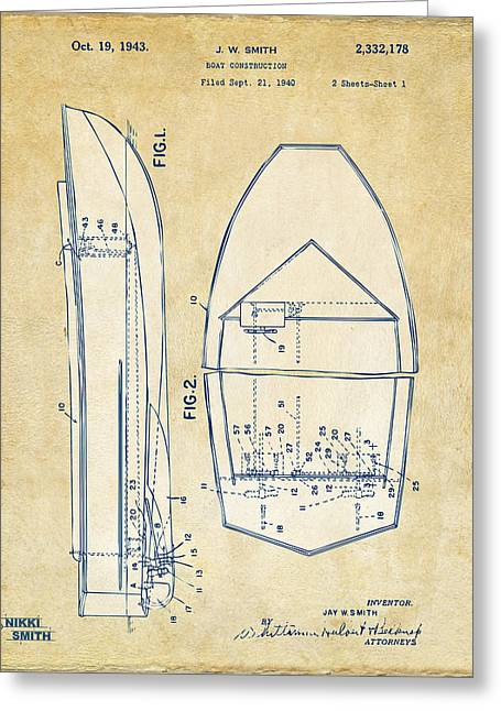 Vintage 1943 Chris Craft Boat Patent Artwork Greeting Card by Nikki Marie Smith