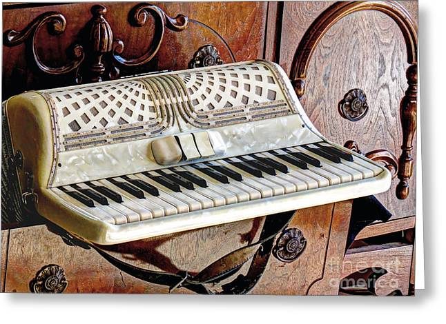 Vintage Accordion Greeting Card by Chris Anderson