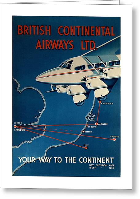 Vintage Airline Ad 1935 Greeting Card by Andrew Fare