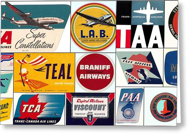 Vintage Airlines Logos Greeting Card by Don Struke