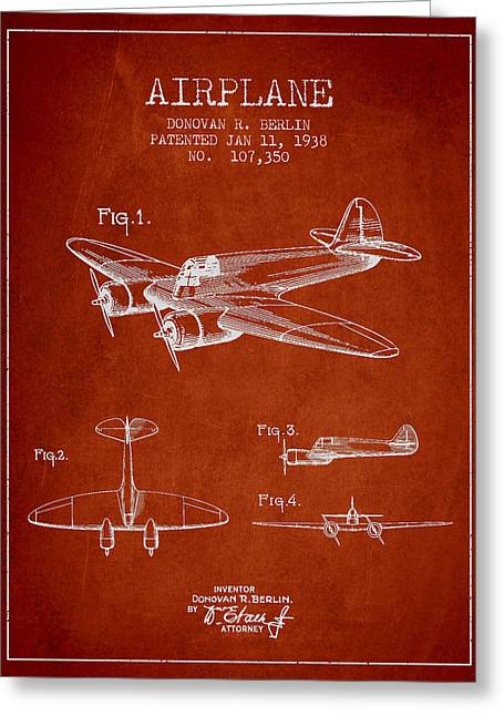 Vintage Airplane Patent Drawing From 1938 Greeting Card by Aged Pixel