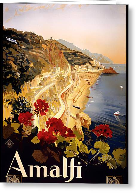 Vintage Amalfi Travel Poster 1915 Greeting Card by Mountain Dreams