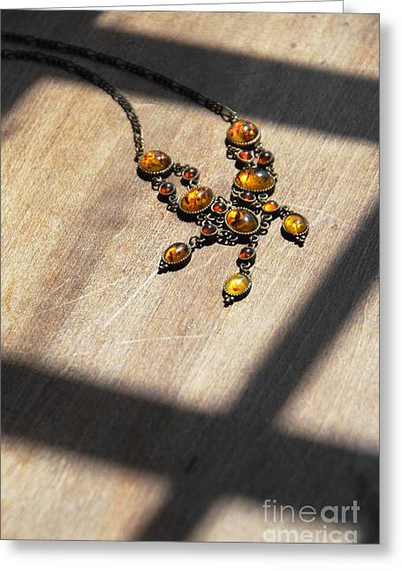 Vintage Amber Necklace Greeting Card