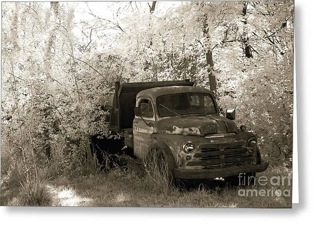 Vintage American Dodge Truck - Abandoned Vintage American Truck Sepia Print Greeting Card by Kathy Fornal