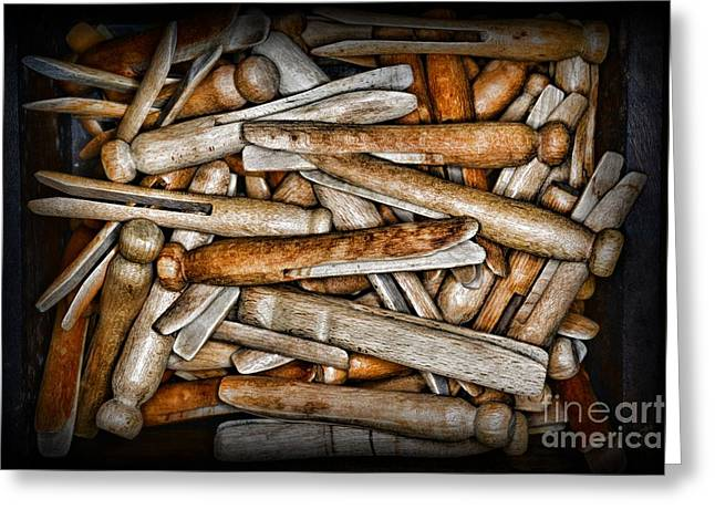 Vintage And Old Fashion Clothespins Greeting Card by Paul Ward