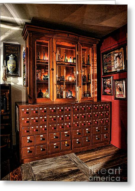 Vintage Apothecary Case Greeting Card by Olivier Le Queinec