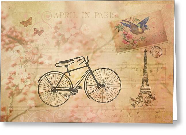 Vintage April In Paris Greeting Card
