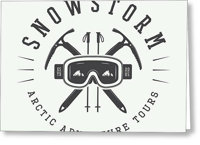 Vintage Arctic Mountaineering Logo Greeting Card